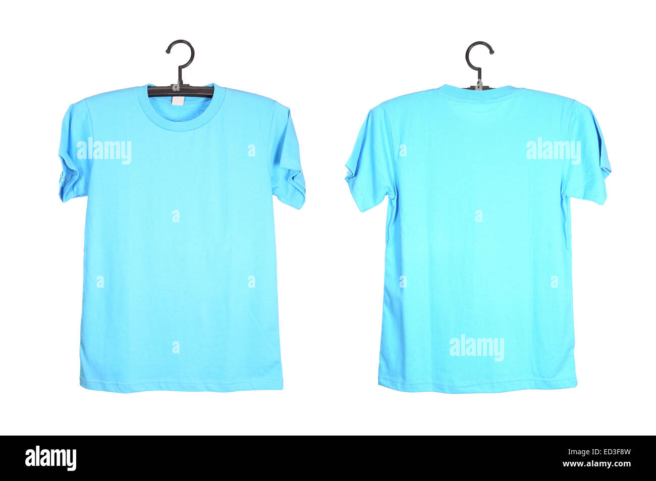 Blue T Shirt Template On Hanger Isolated On White Background Stock