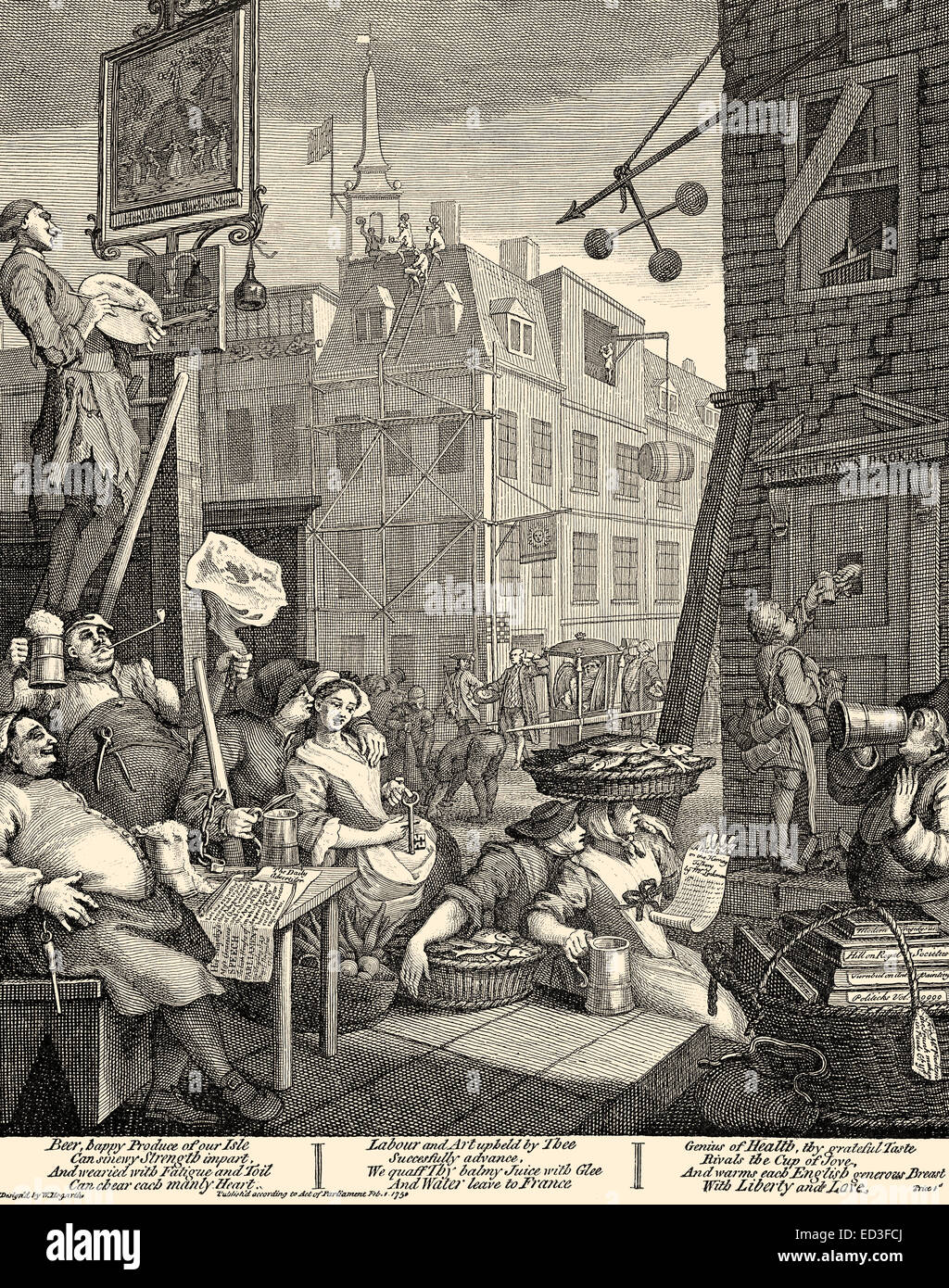 Beer Lane, a caricature,  by William Hogarth, 1697 - 1764 Stock Photo