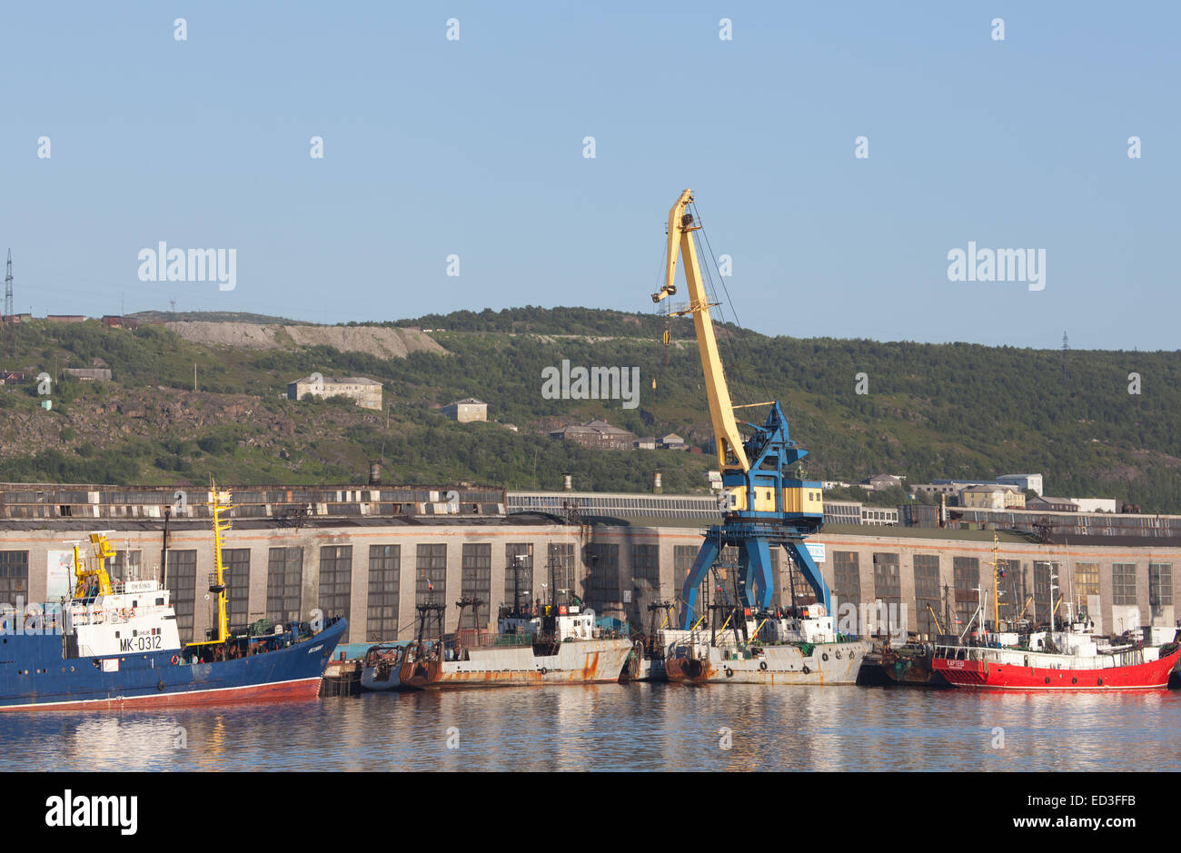 Ships in the port of Murmansk - Stock Image
