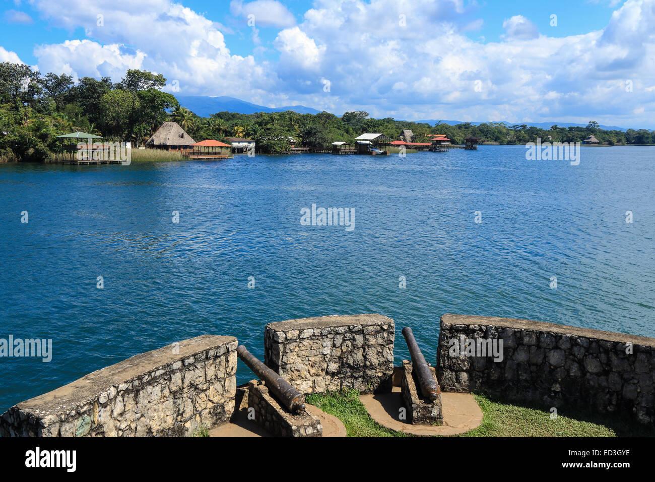 View from Castillo de San Felipe de Lara, looking out over Lago Izabal. - Stock Image