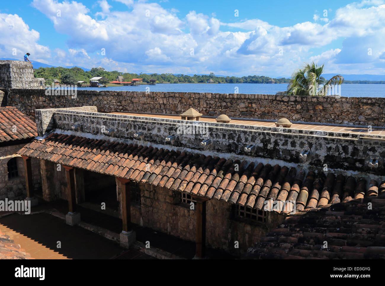 Interior of Castillo de San Felipe de Lara, a fort located at the entrance to Lago Izabal in Rio Dulce, Guatemala. - Stock Image
