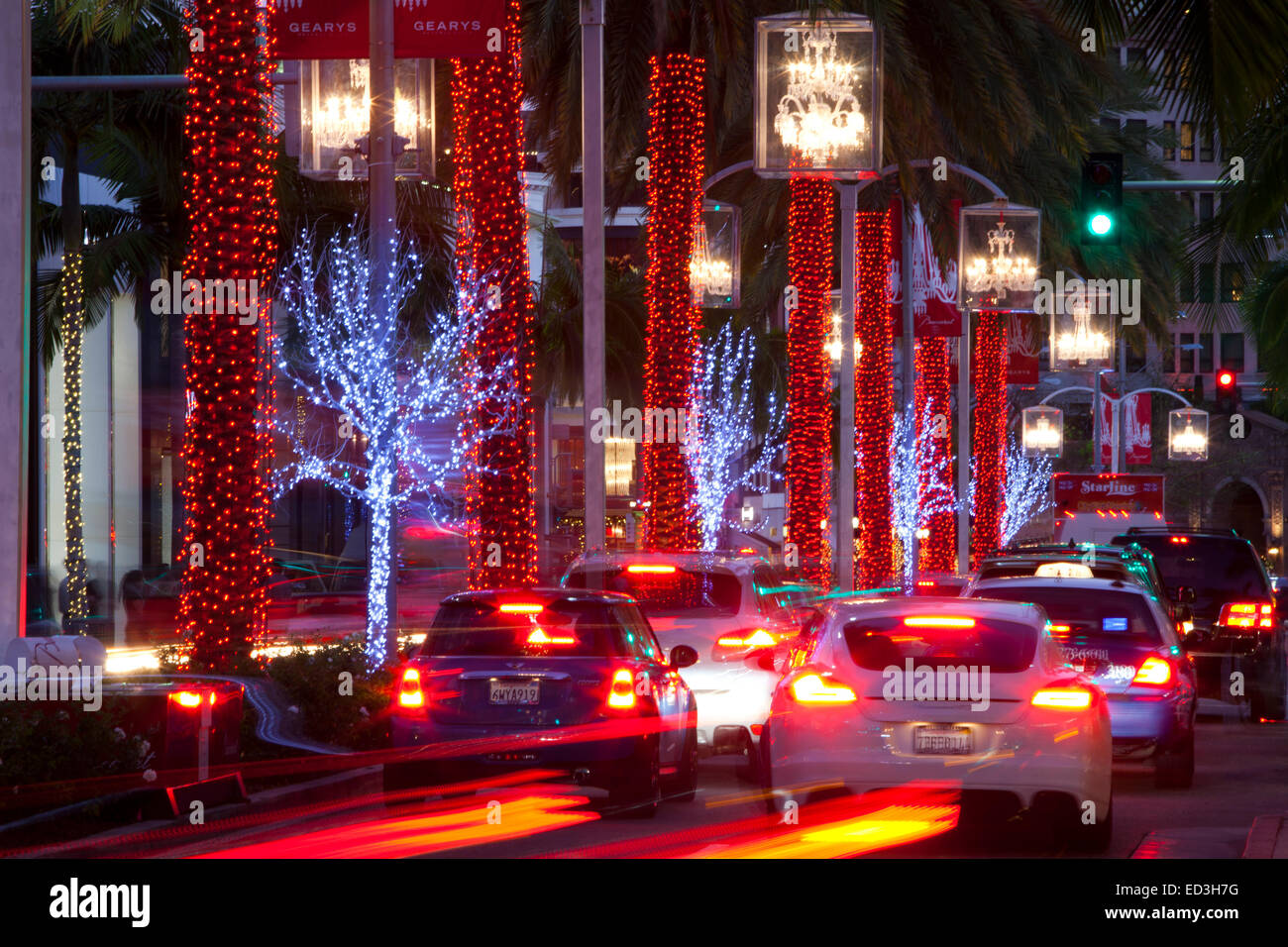 Christmas Decorations Rodeo Drive Beverly Hills California United Stock Photo Alamy