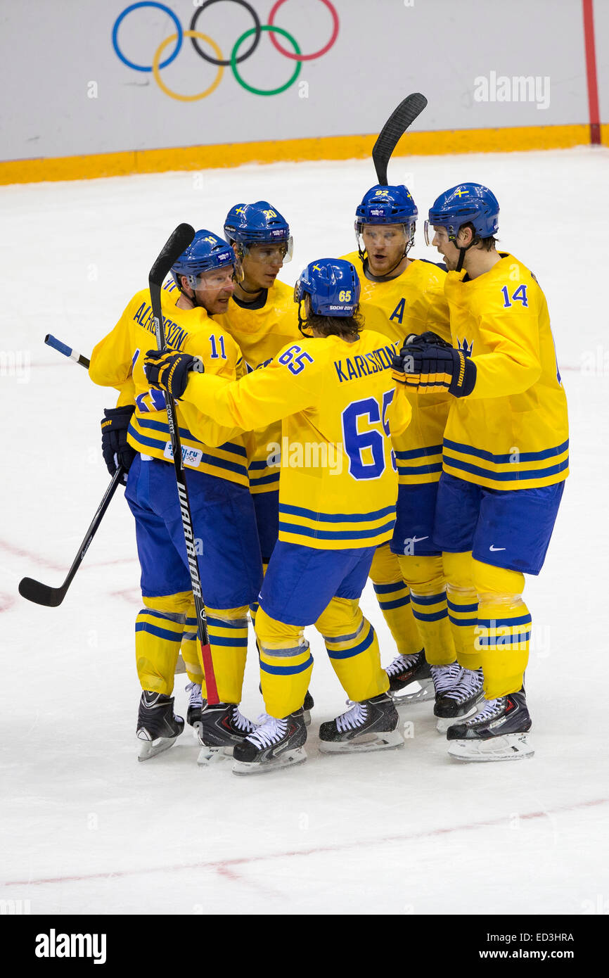 Team Sweden celebrates during Sweden vs Slovenia game at the Olympic Winter Games, Sochi 2014 - Stock Image