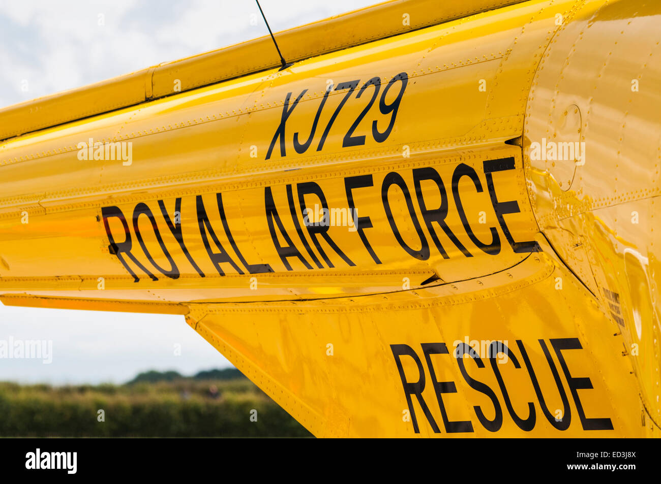Wording on the side of an old Royal Air Force  Westland Whirlwind rescue helicopter - Stock Image