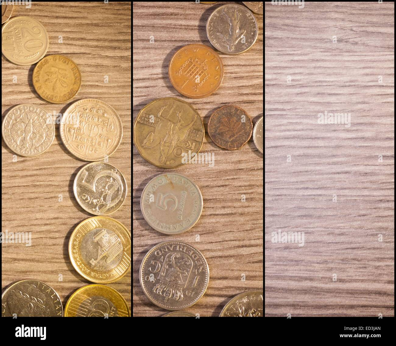 Home Of Coins. Lire Marks Pounds Drachmas - Stock Image
