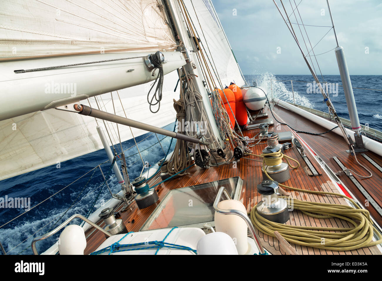 sail boat in the ocean - Stock Image