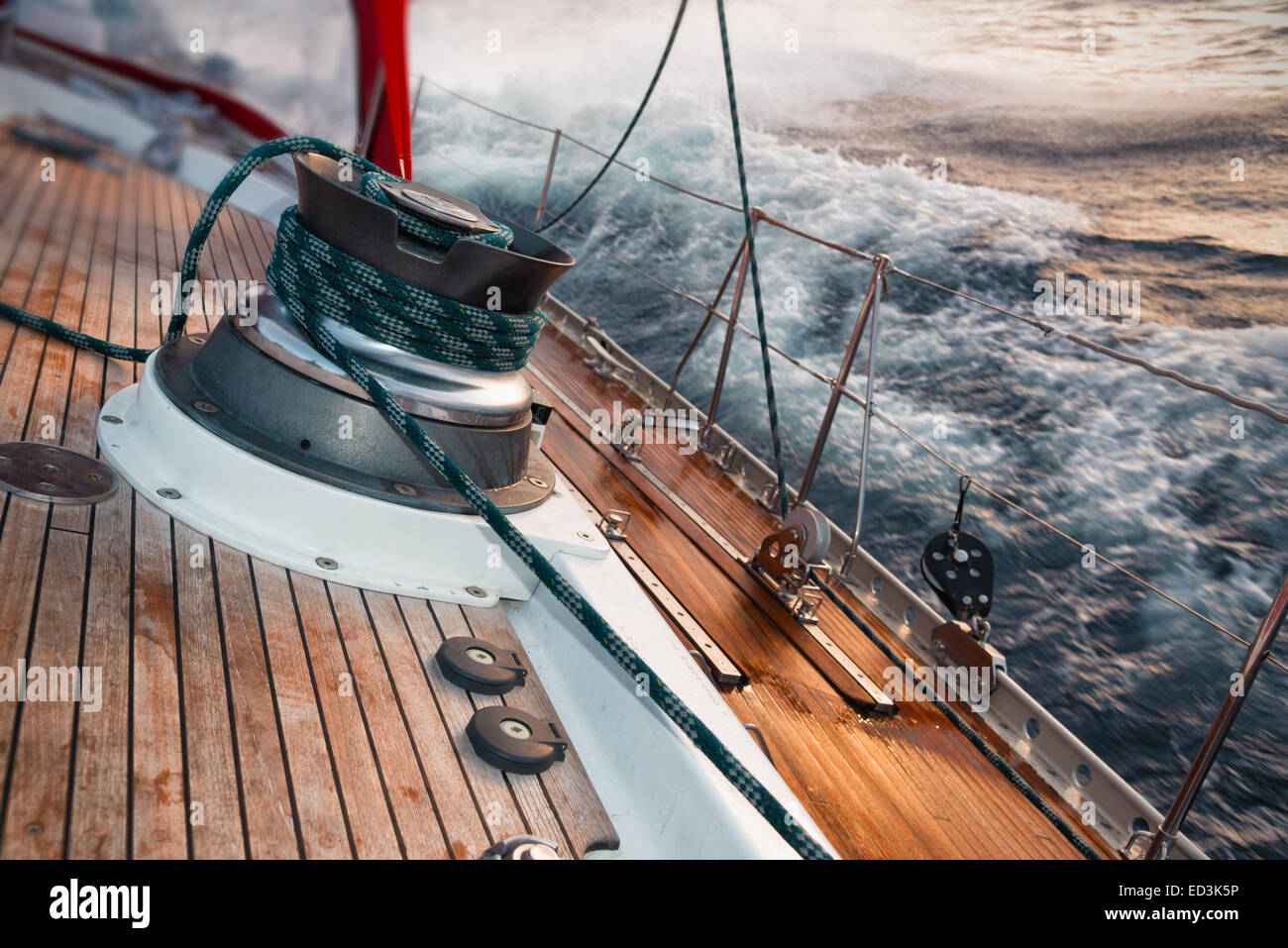 sail boat under the storm, detail on the winch - Stock Image