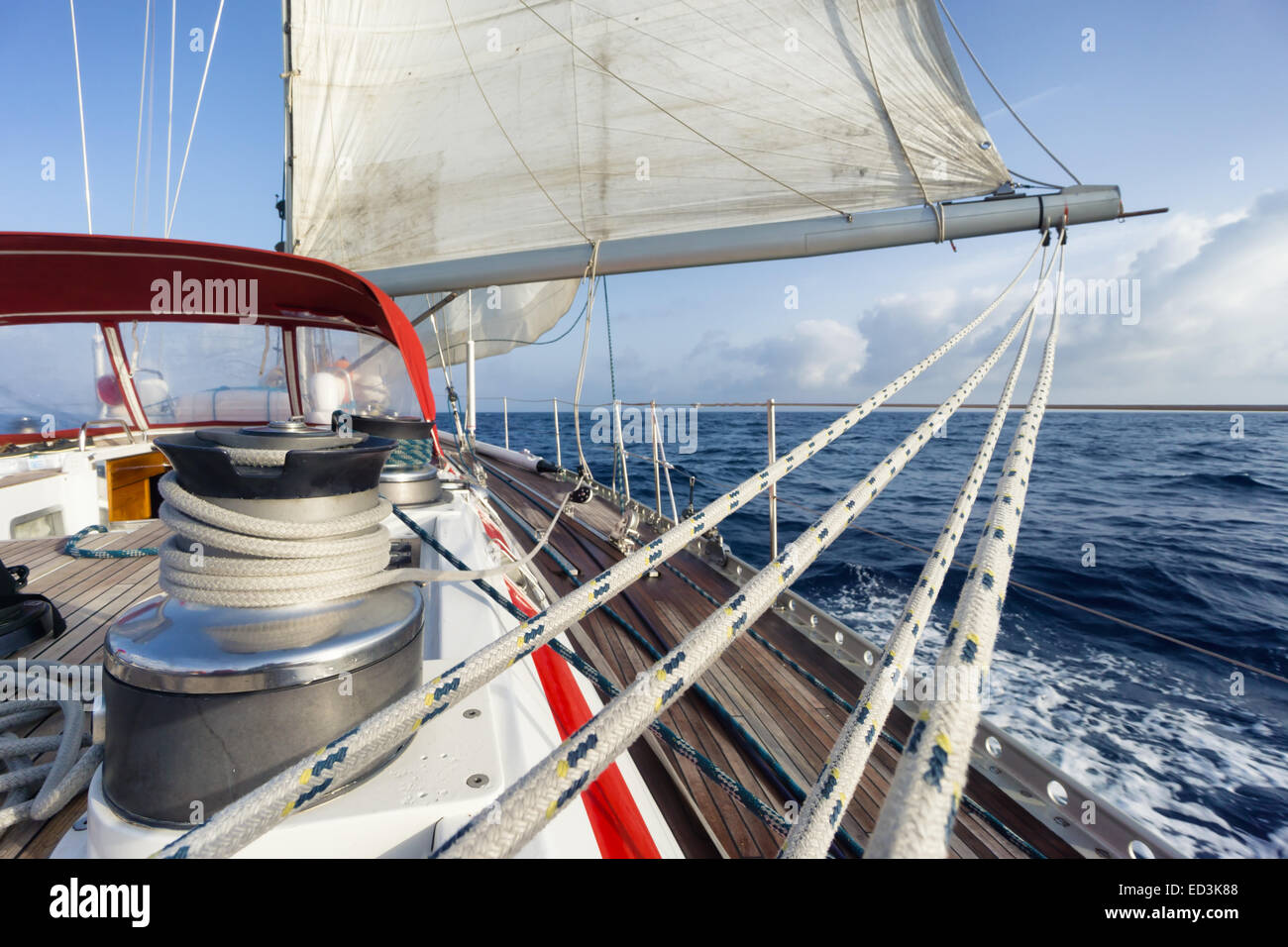 rope on sail boat in navigation - Stock Image