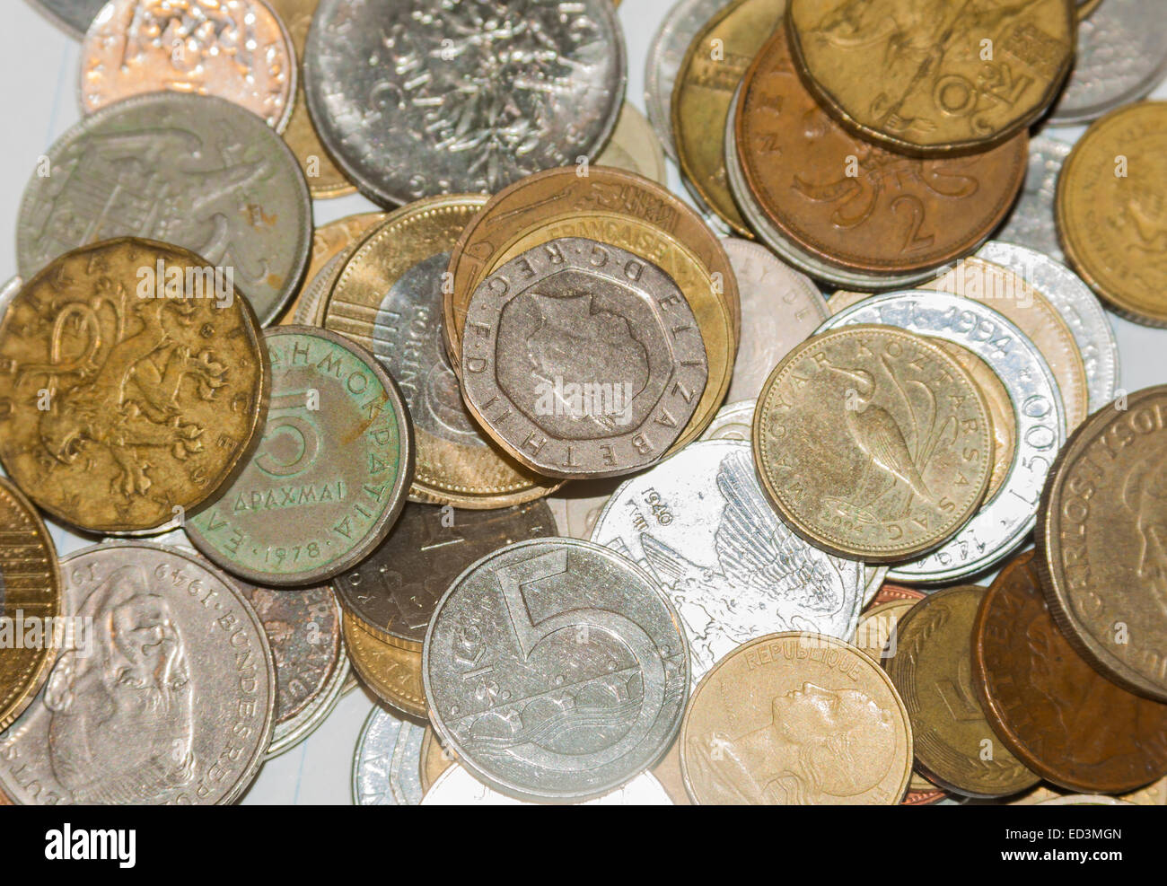 Old Europe Coins.  lire drachmas francs pounds marks - Stock Image