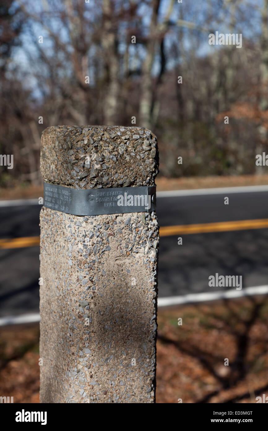 Appalachian Trail cement post for Turk Branch on Skyline