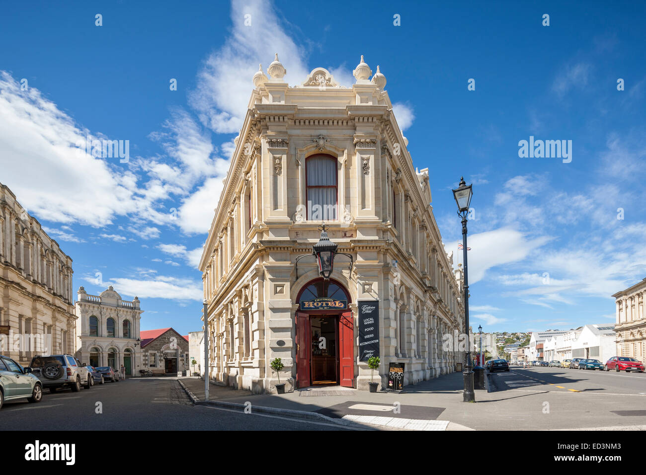 New Zealand Oamaru. The Criterion Hotel and other old Victorian style buildings in the Historic Harbour Harbor district. - Stock Image