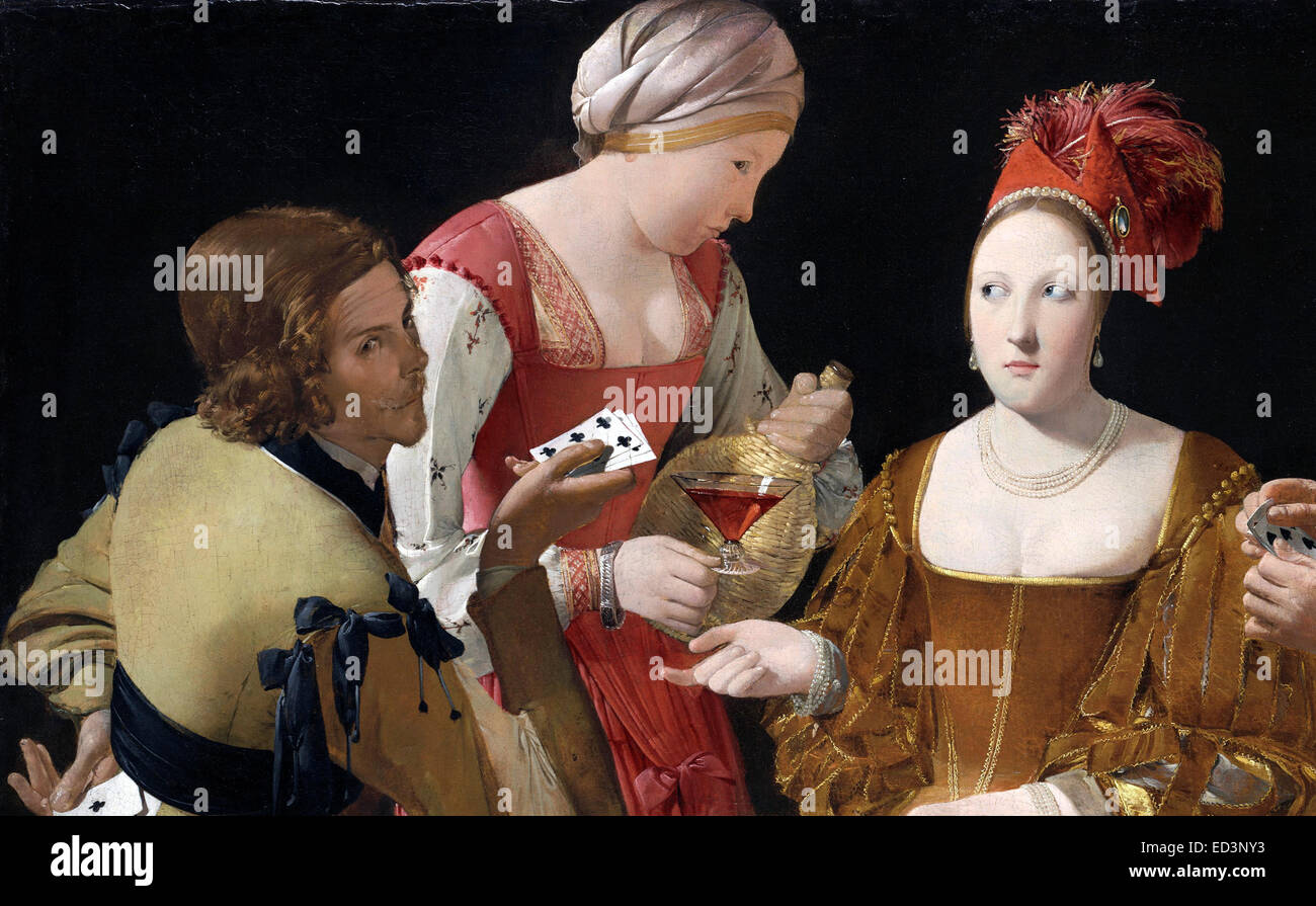 Georges de La Tour, The Cheat with the Ace of Clubs. Circa 1630-1634. Oil on canvas. Kimbell Art Museum, Fort Worth, - Stock Image