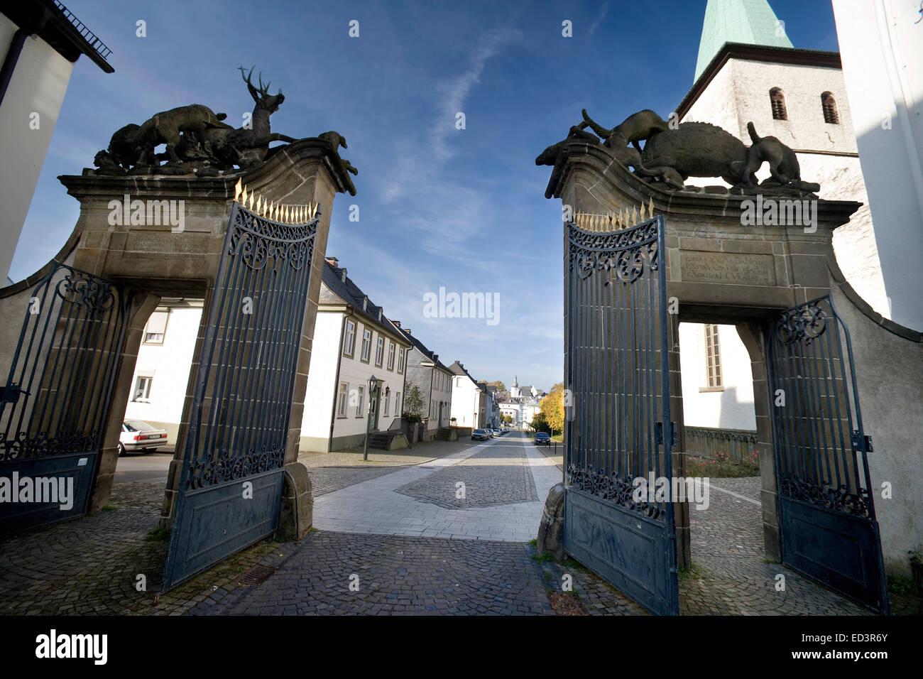 Hirschberger Tor gate, St Laurentius church, former monastery Wedinghausen, Arnsberg, North Rhine-Westphalia, Germany, - Stock Image