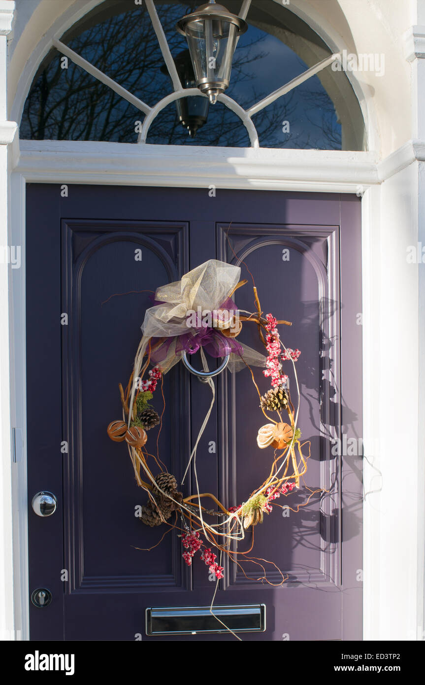 Modern Or Contemporary Christmas Wreath On A House Door Durham City North  East England, UK