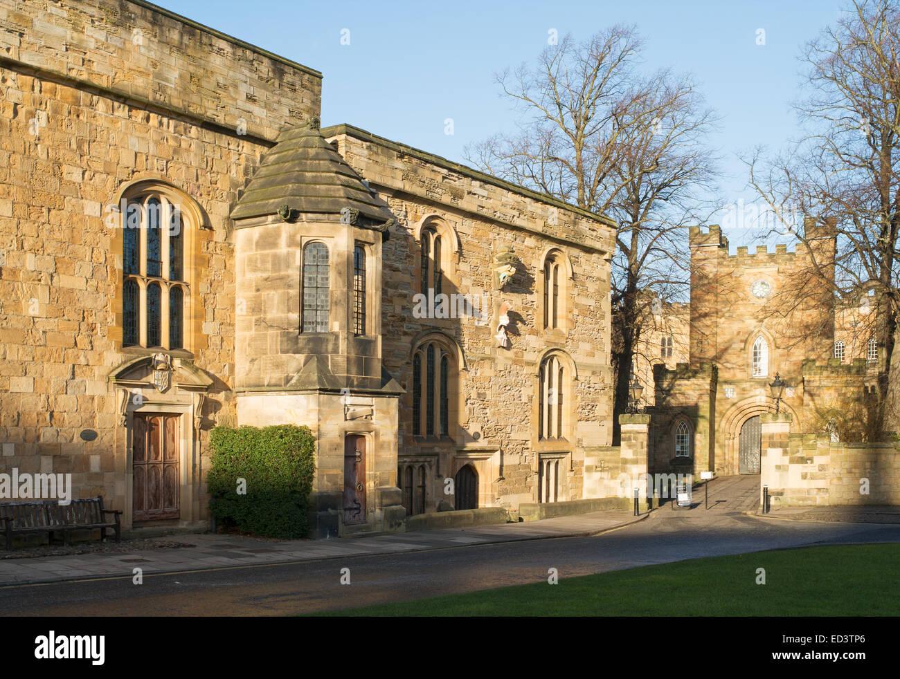 Durham University Palace Green Library and castle gatehouse, Durham City north east England, UK - Stock Image