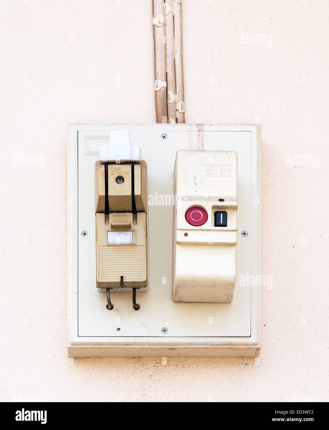 Breaker Box Stock Photos Images Alamy 06turnoffcircuitbreakerbox Old On The Wall Of Urban House Image