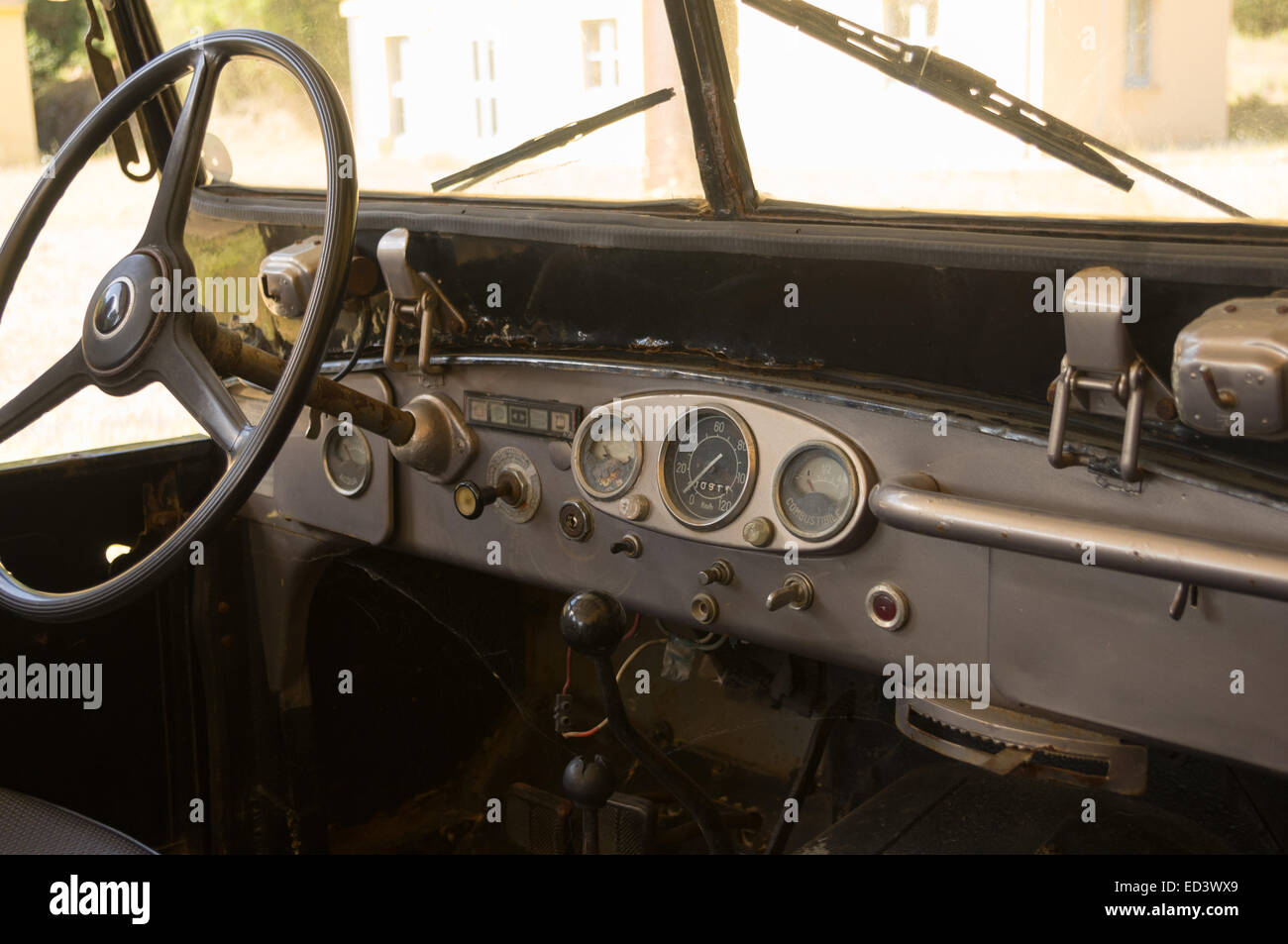 Instrumentation of a vintage Italian car - Stock Image