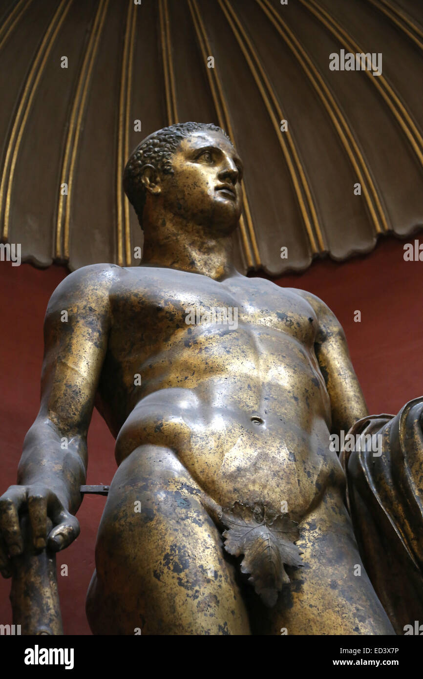 Roman art. Heracles. Gilded statue. From Pompey. 2nd century. Vatican Museums. Vatican city. - Stock Image