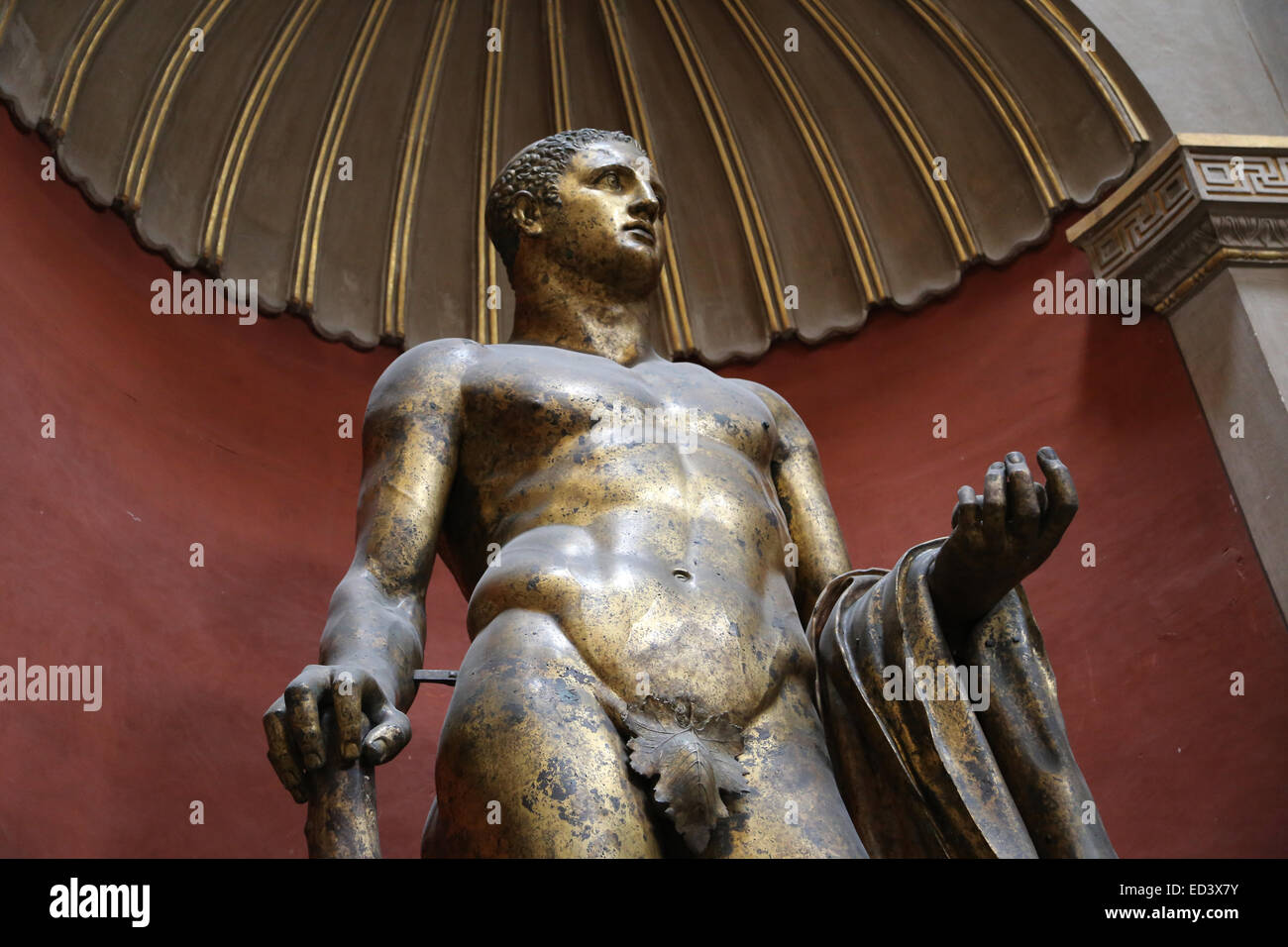 Roman art. Heracles. Gilded statue. From the theatre of Pompey. 2nd century. Vatican Museums. Vatican city. - Stock Image