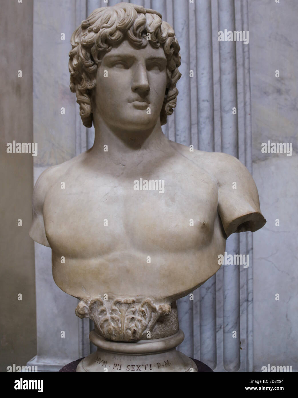 Antinous (111-130). Bithynian Greek youth and a favourite of the Emperor Hadrian. Found in Hadrian's Villa. - Stock Image
