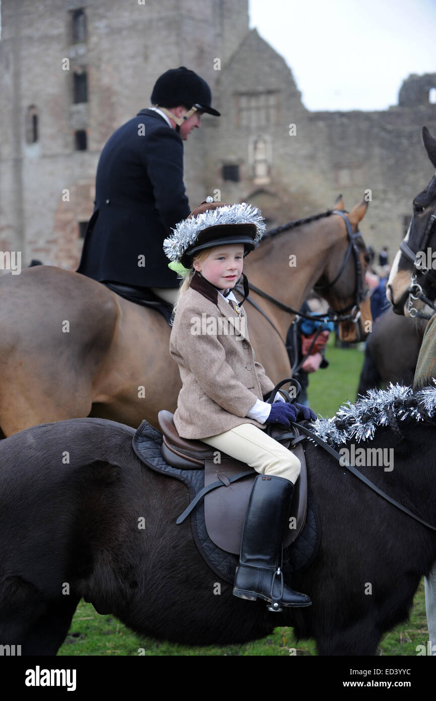 Festively dressed young rider at The Ludlow Hunt Boxing Day meet at Ludlow Castle - Stock Image
