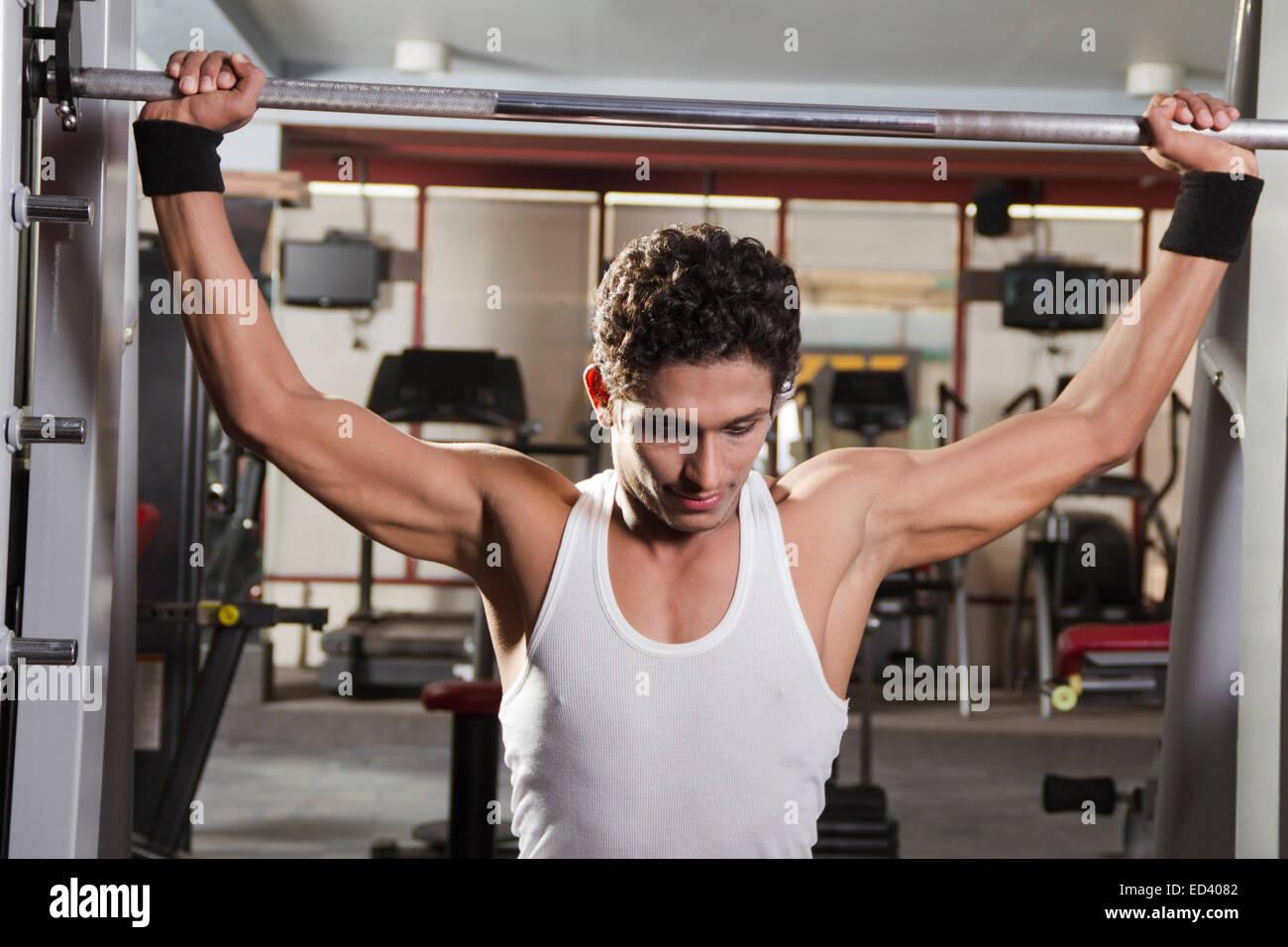 Indian man gym body building stock photo  alamy