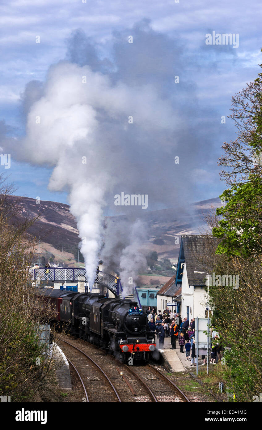 The Great Britain IV double header steam train with Black Five engines 45407 and 44871 ready to depart from Helmsdale - Stock Image