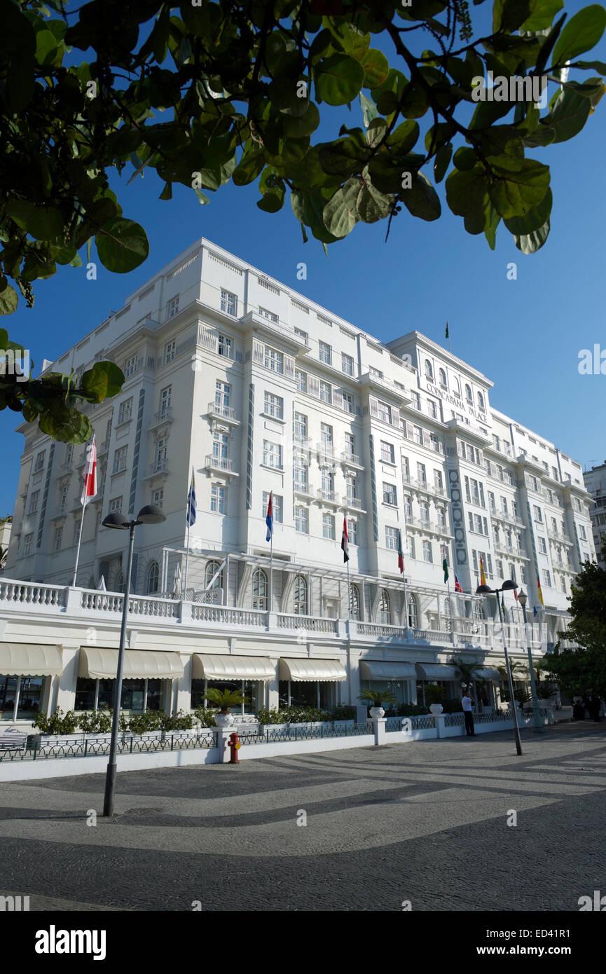 RIO DE JANEIRO, BRAZIL - FEBRUARY 11, 2014: Facade of the Copacabana Palace Hotel, whose design was based in 1920s Stock Photo