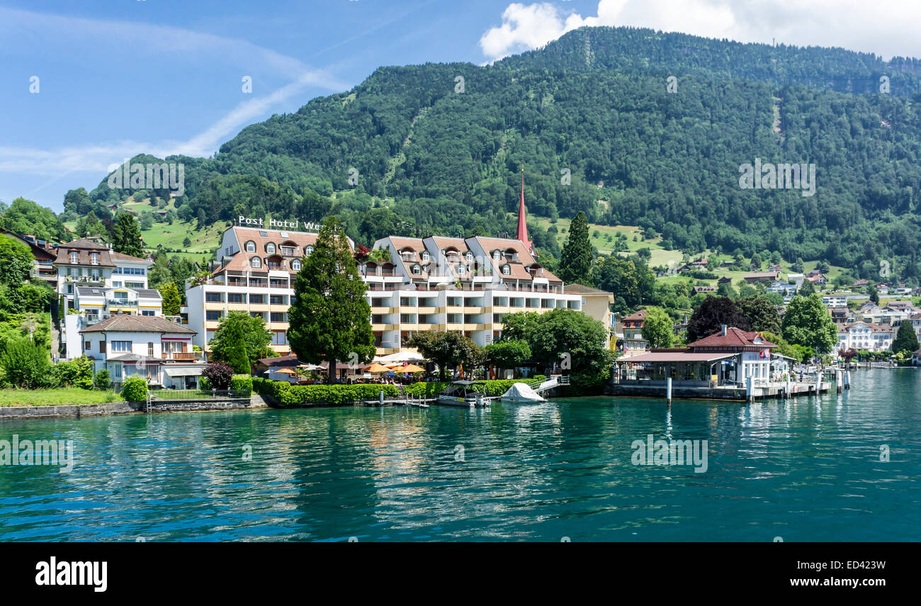 post hotel weggis and pier at weggis on lake lucerne in switzerland stock photo 76921485 alamy. Black Bedroom Furniture Sets. Home Design Ideas