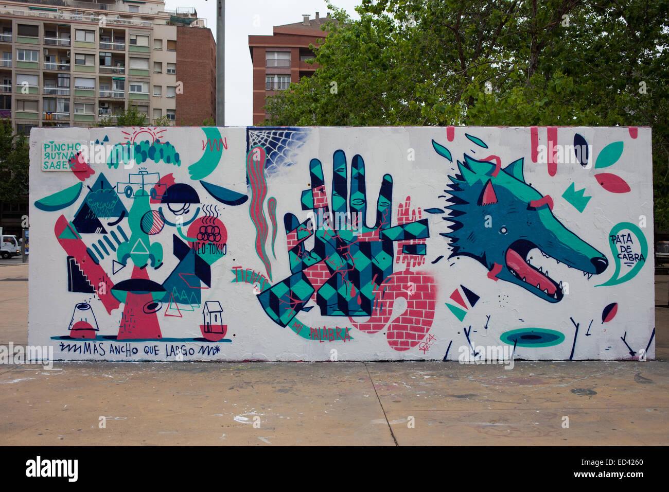 Street art in Barcelona Catalonia Spain Mural on a concrete wall