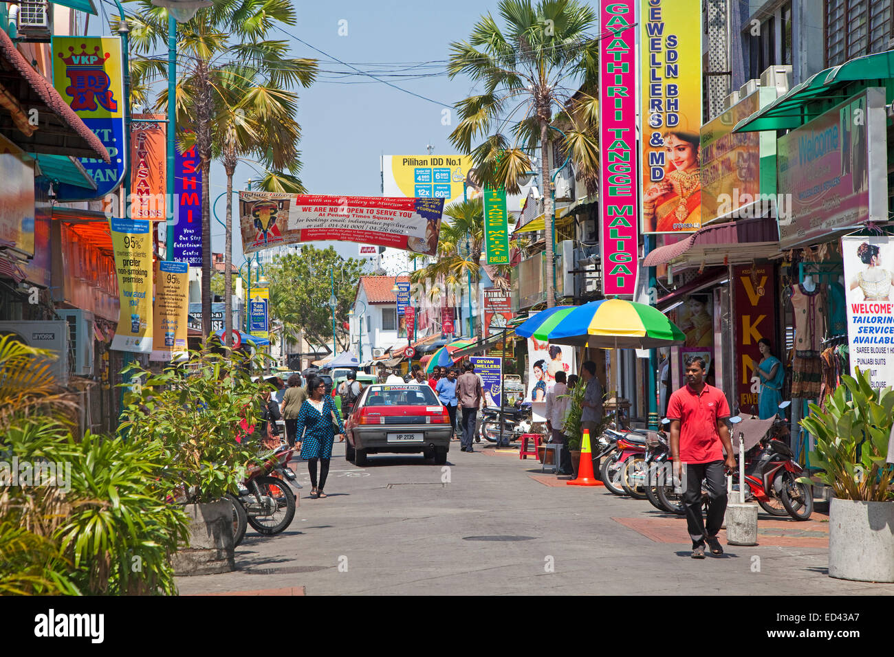 Colourful signboards in shopping street in Little India, ethnic Indian enclave in George Town / Georgetown, Penang, - Stock Image