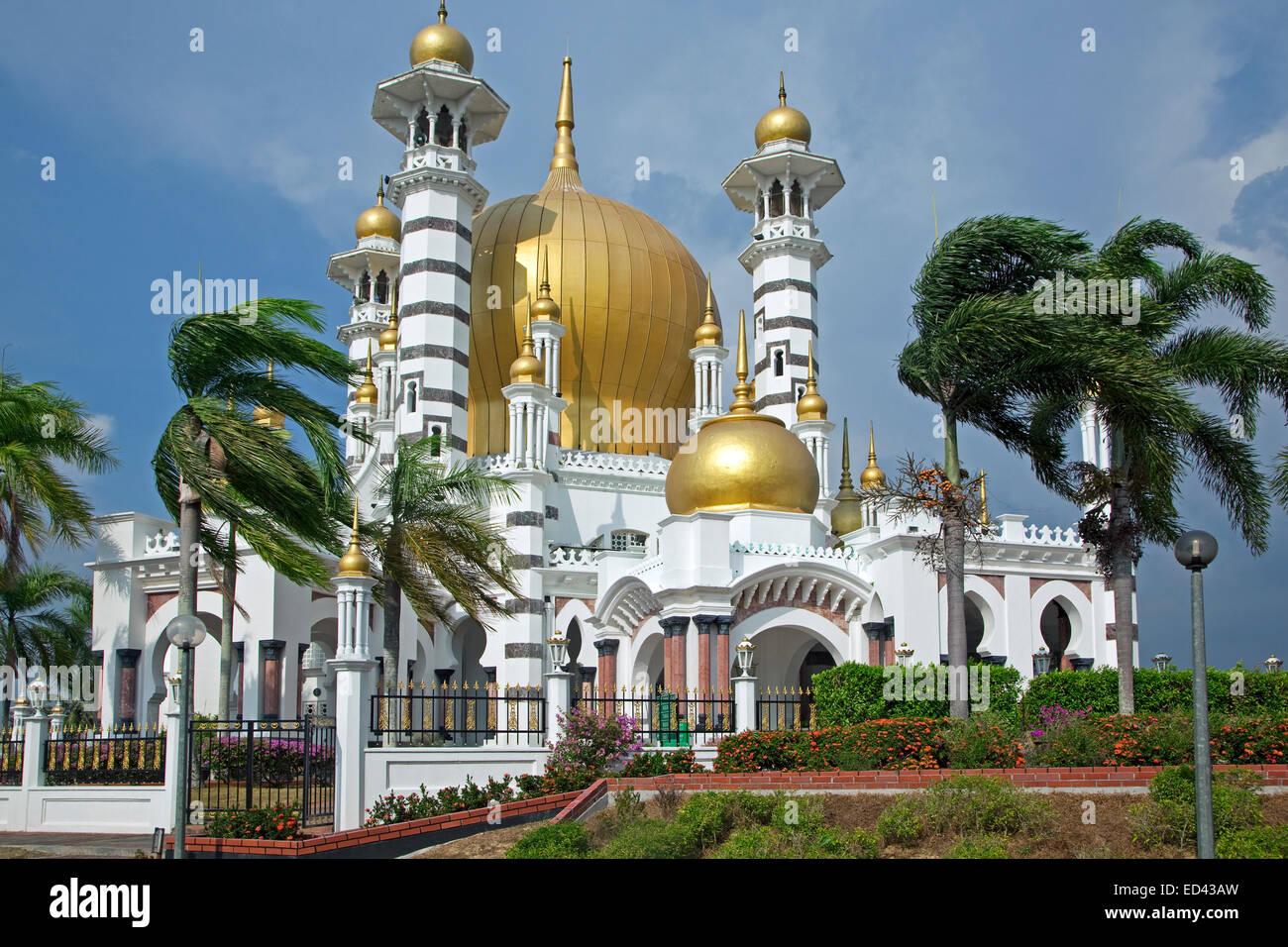 Ubudiah Mosque / Masjid Ubudiah with golden dome in Kuala Kangsar, Perak, Malaysia - Stock Image