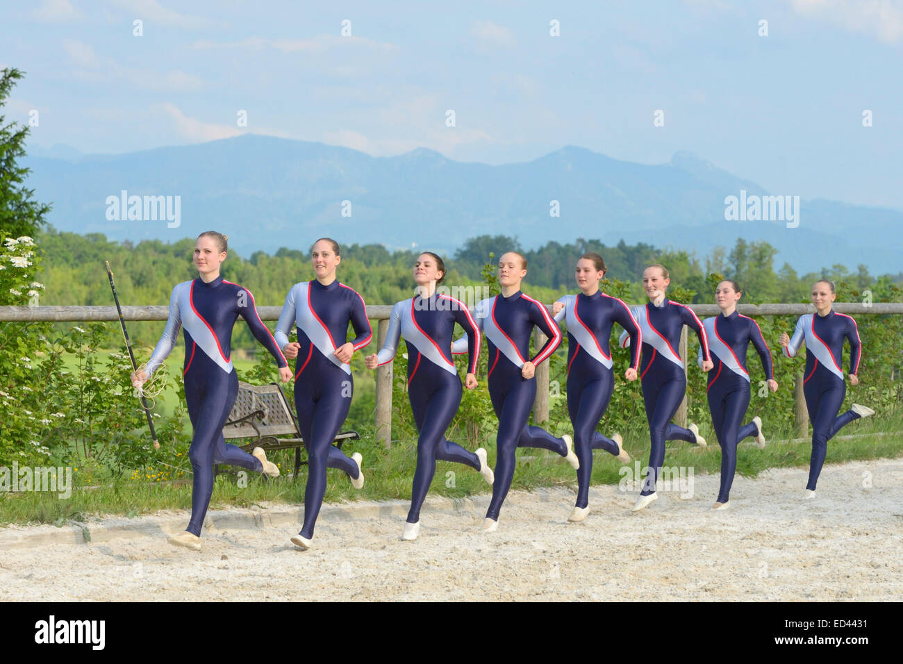 Vaulting team coming in - Stock Image