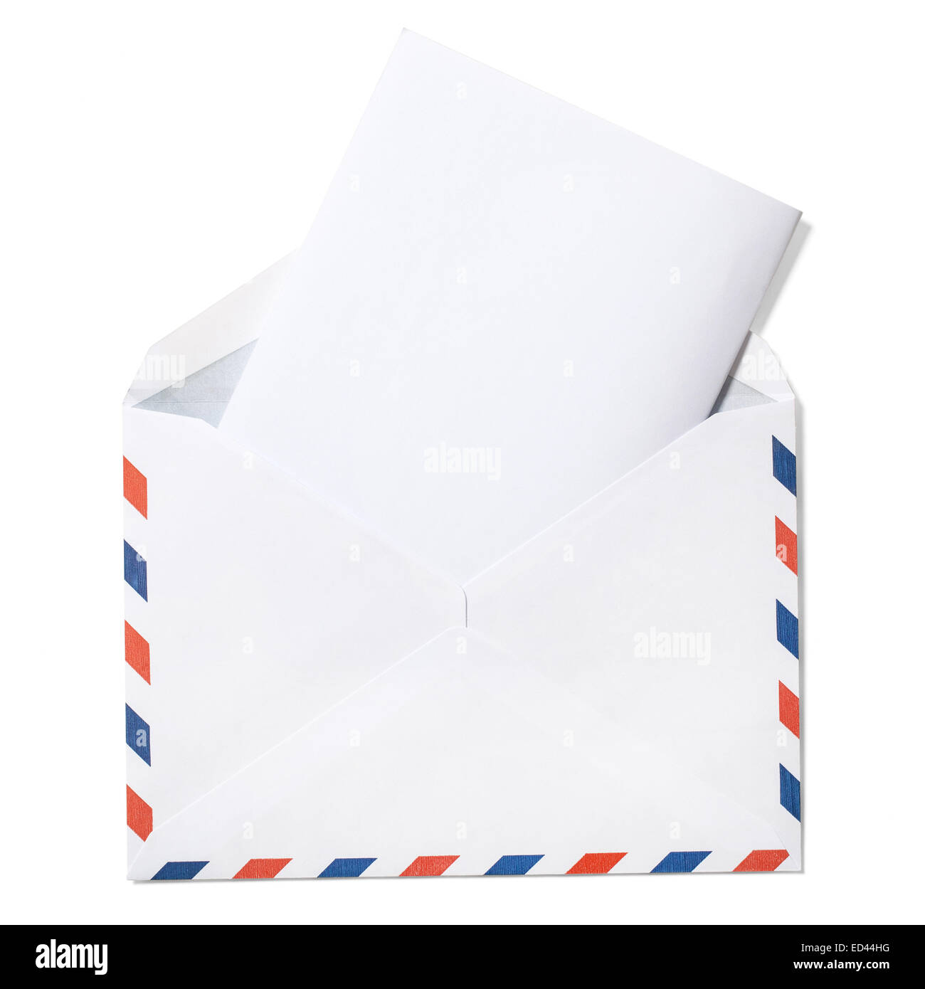 Envelope with folded letter and clipping path on white - Stock Image