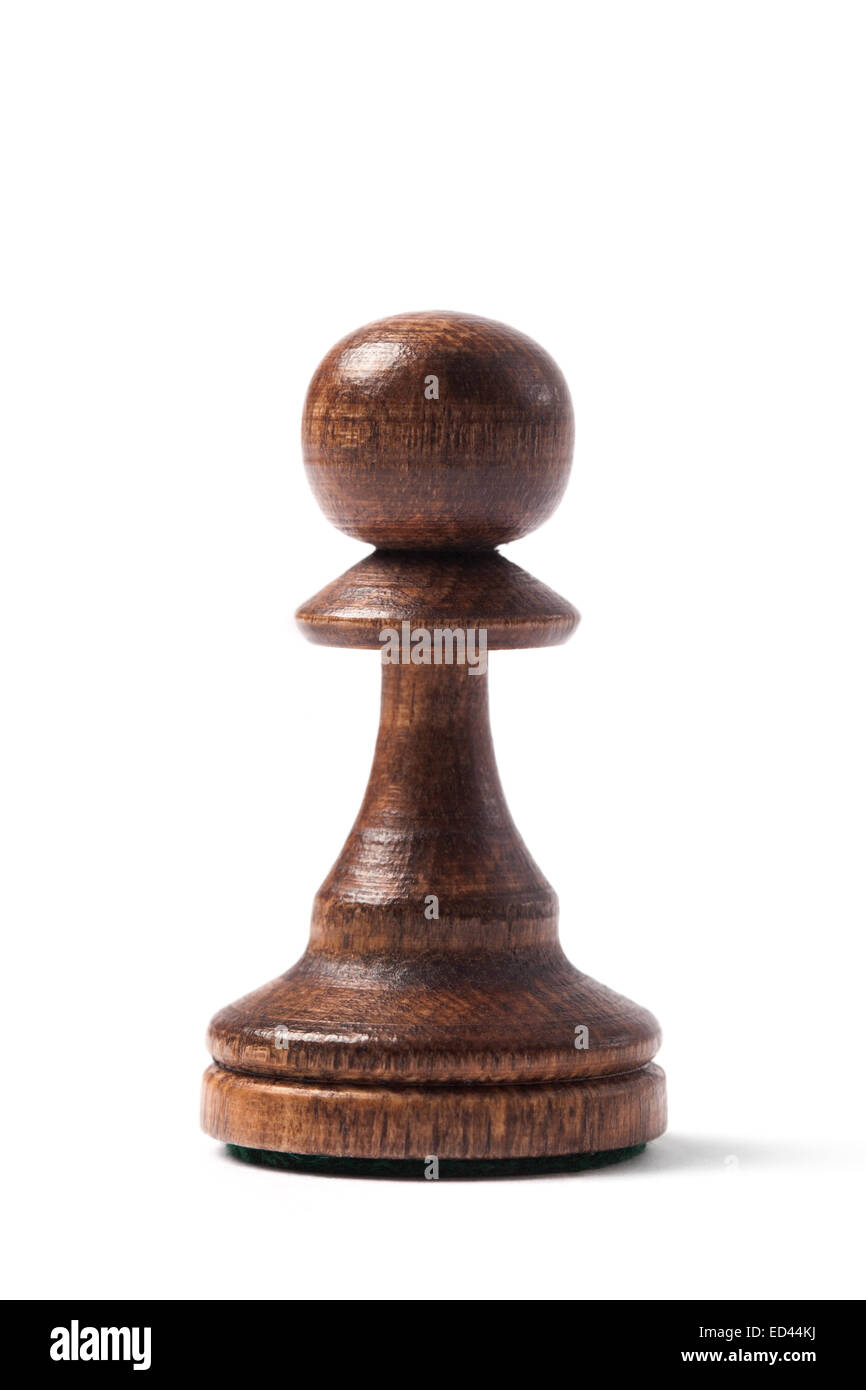 Chess piece pawn made of wood isolated on white - Stock Image
