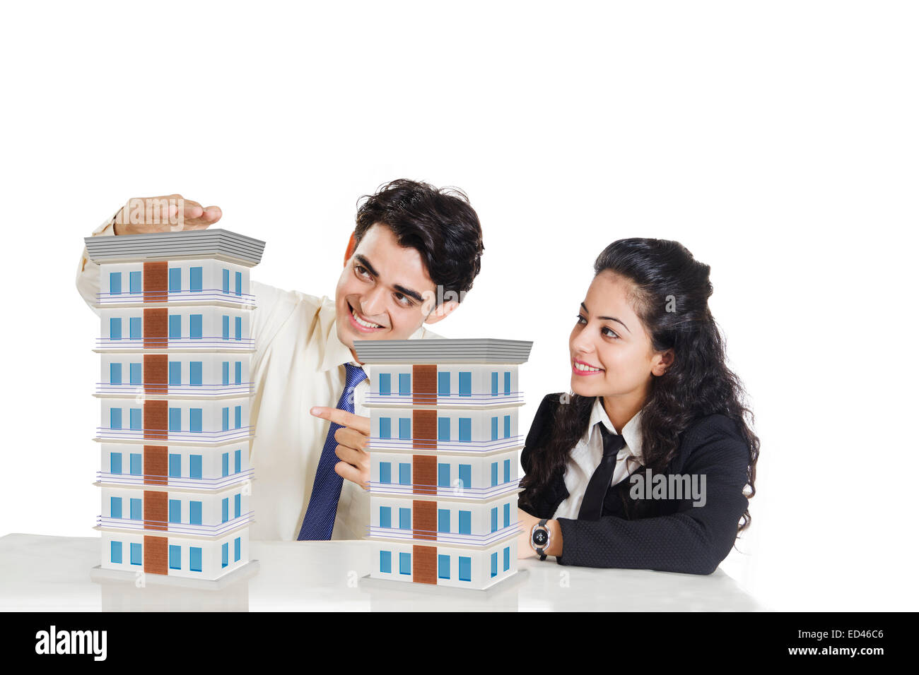 2 indian business people sitting - Stock Image