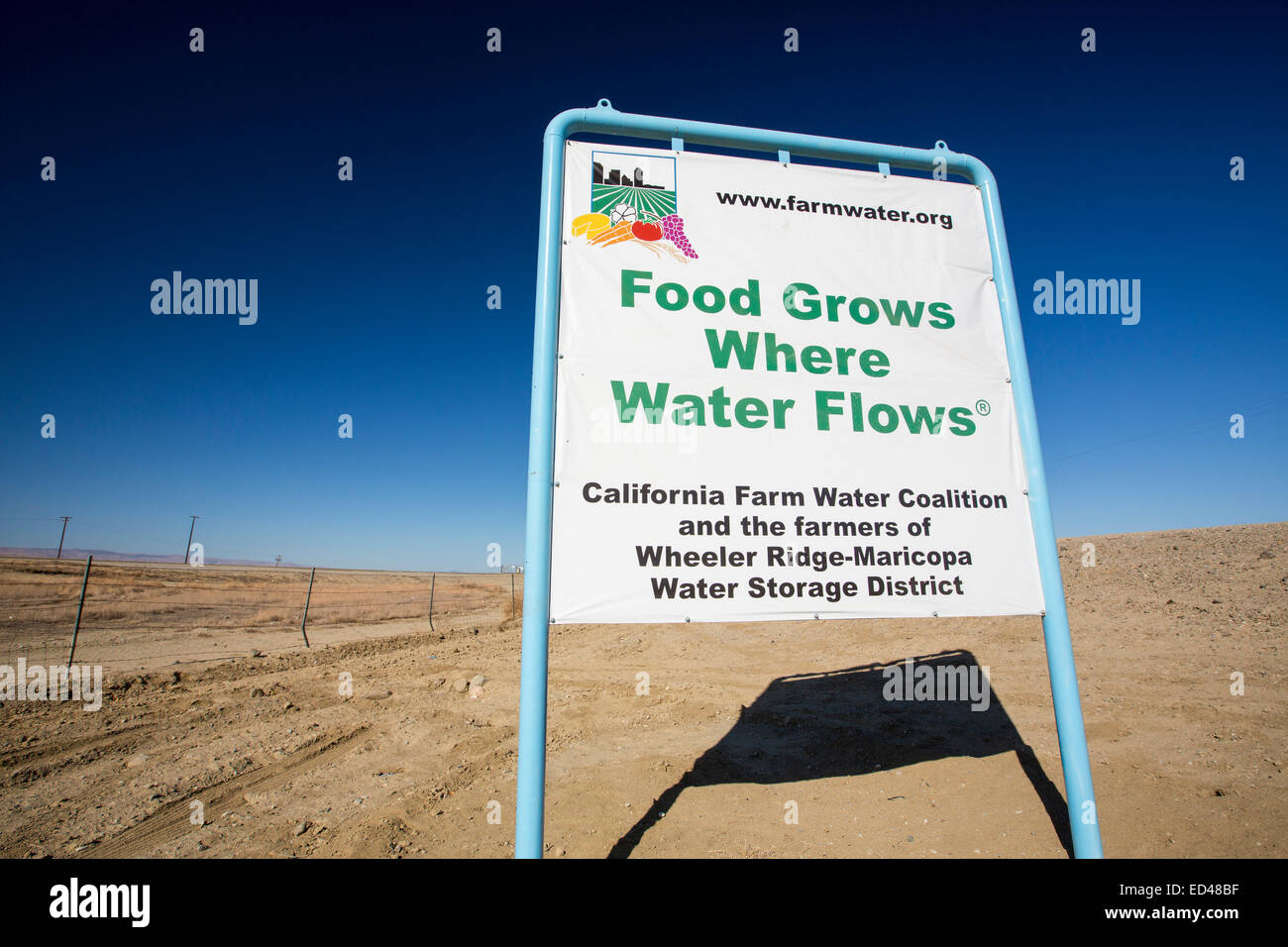 A sign about California's ongoing catastrophic drought in the Central Valley, USA. - Stock Image