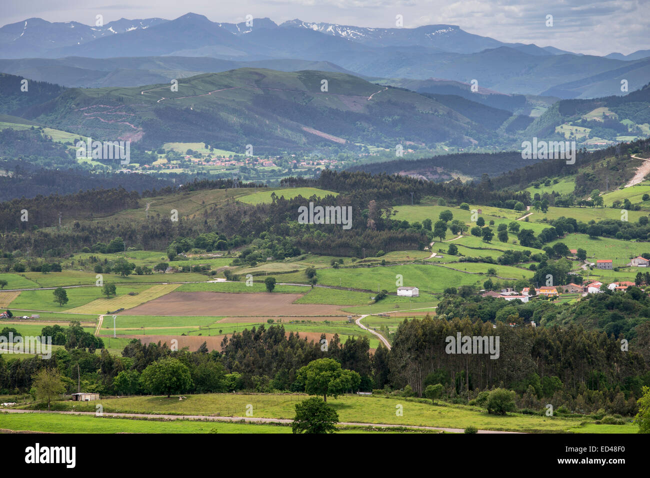 Panoramic views of Picos de Europa from Comillas area, Cantabria, Spain - Stock Image