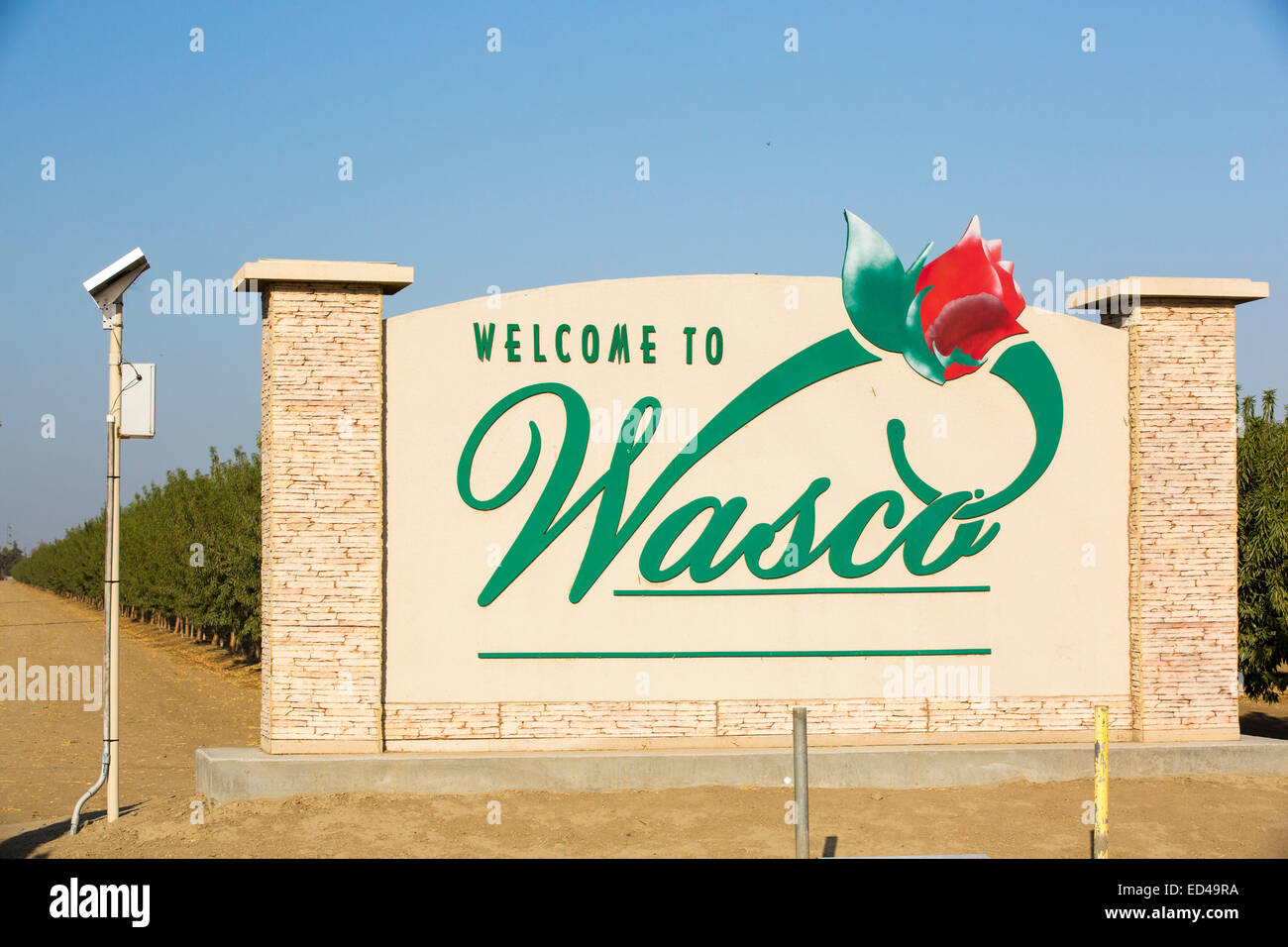 Roses welcome you to Wasco in the Central Valley of California, whose production is vulnerable following the four - Stock Image