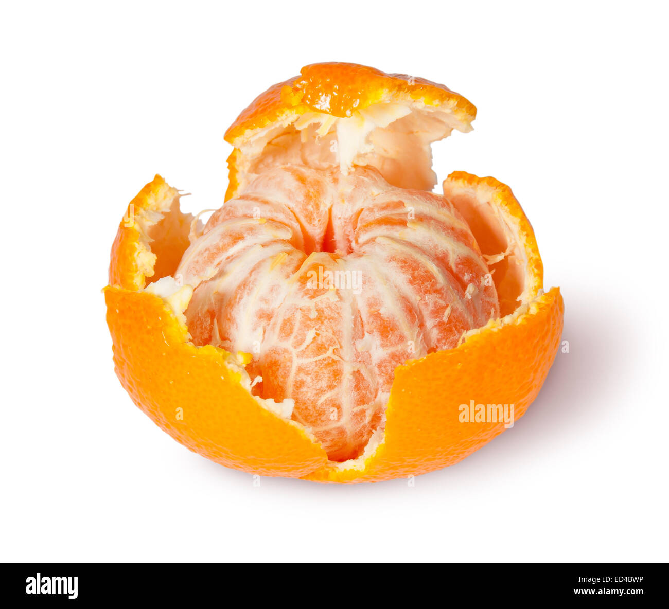 Partially Purified Tangerine Isolated On White Background - Stock Image