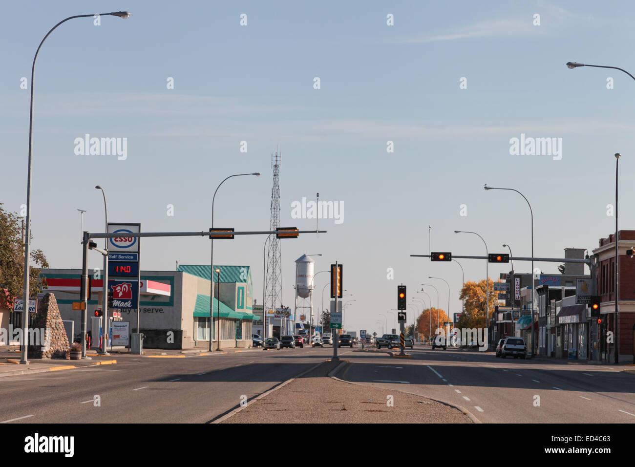 Highway 2 in Claresholm, Alberta, Canada  Looking south down
