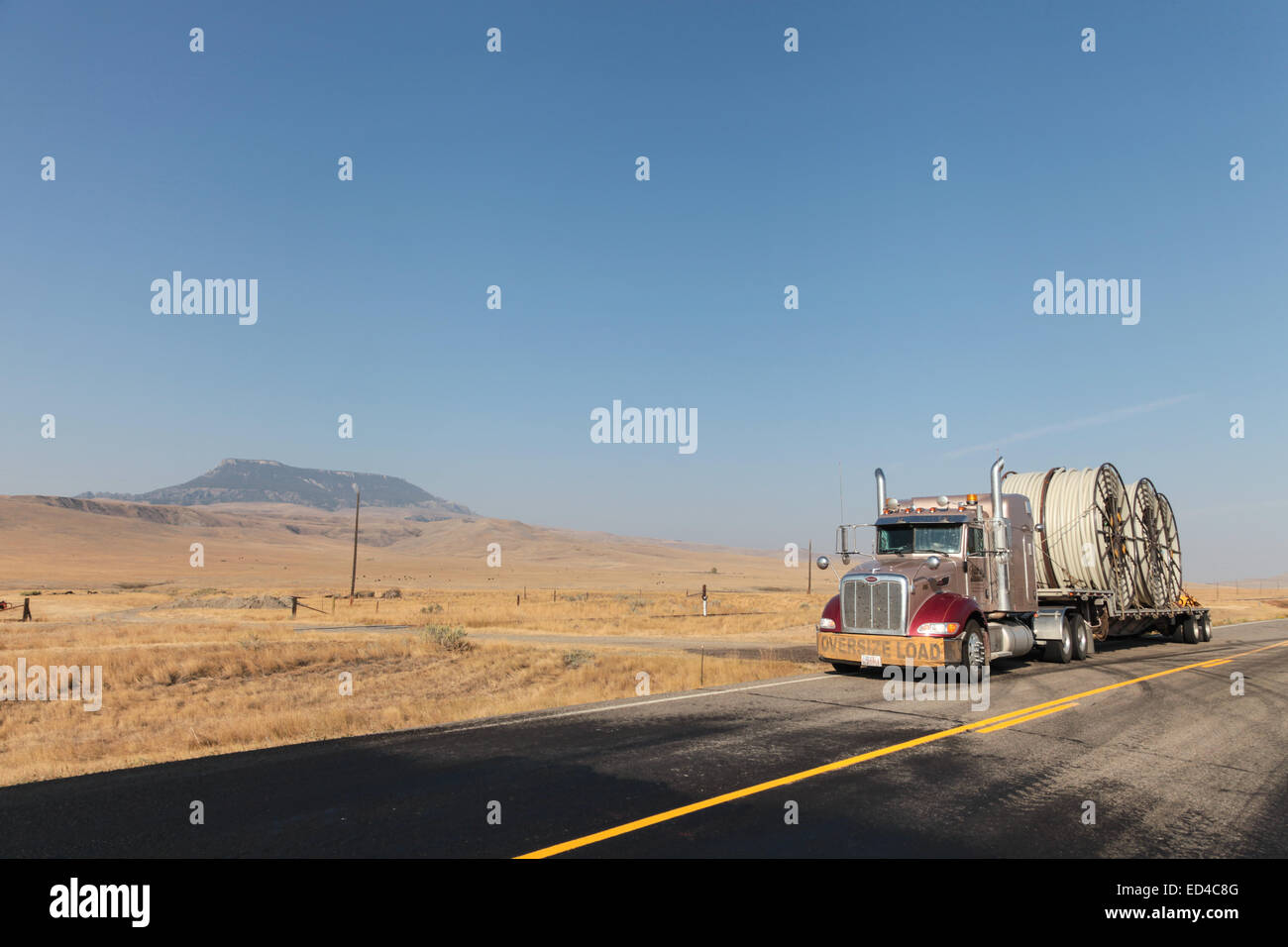 Reels of plastic underground pipe on a Peterbilt 379 semi truck flat deck trailer heading for the US oilfields and - Stock Image