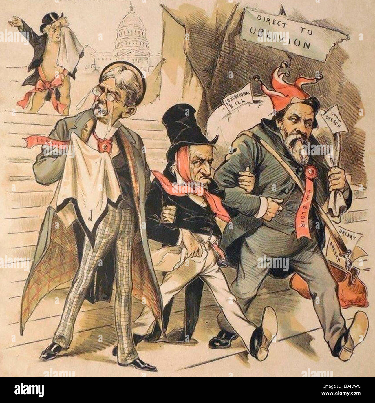 Politicians Expelled Washington to Oblivion, USA Political Cartoon 1890 - Stock Image