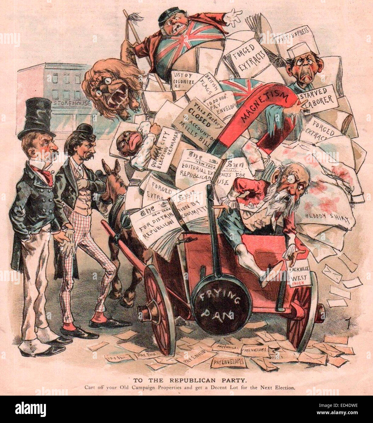 To the Republican Party - Cart off your Old Campaign Properties and get a Decent Lot for the Next Election - 1888 - Stock Image
