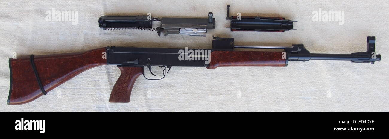 Czechoslovak assault rifle Sa vz. 58 P partially stripped. - Stock Image