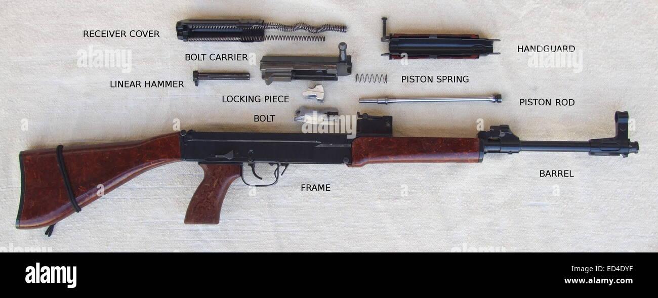 Czechoslovak assault rifle Sa vz. 58 P field stripped. - Stock Image