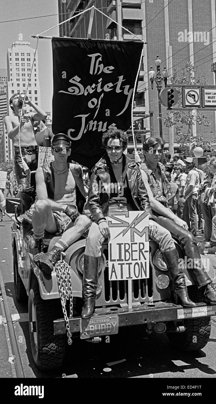 Society of Janus with SM Liberation sign in a San Francisco parade 6/25/78 - Stock Image