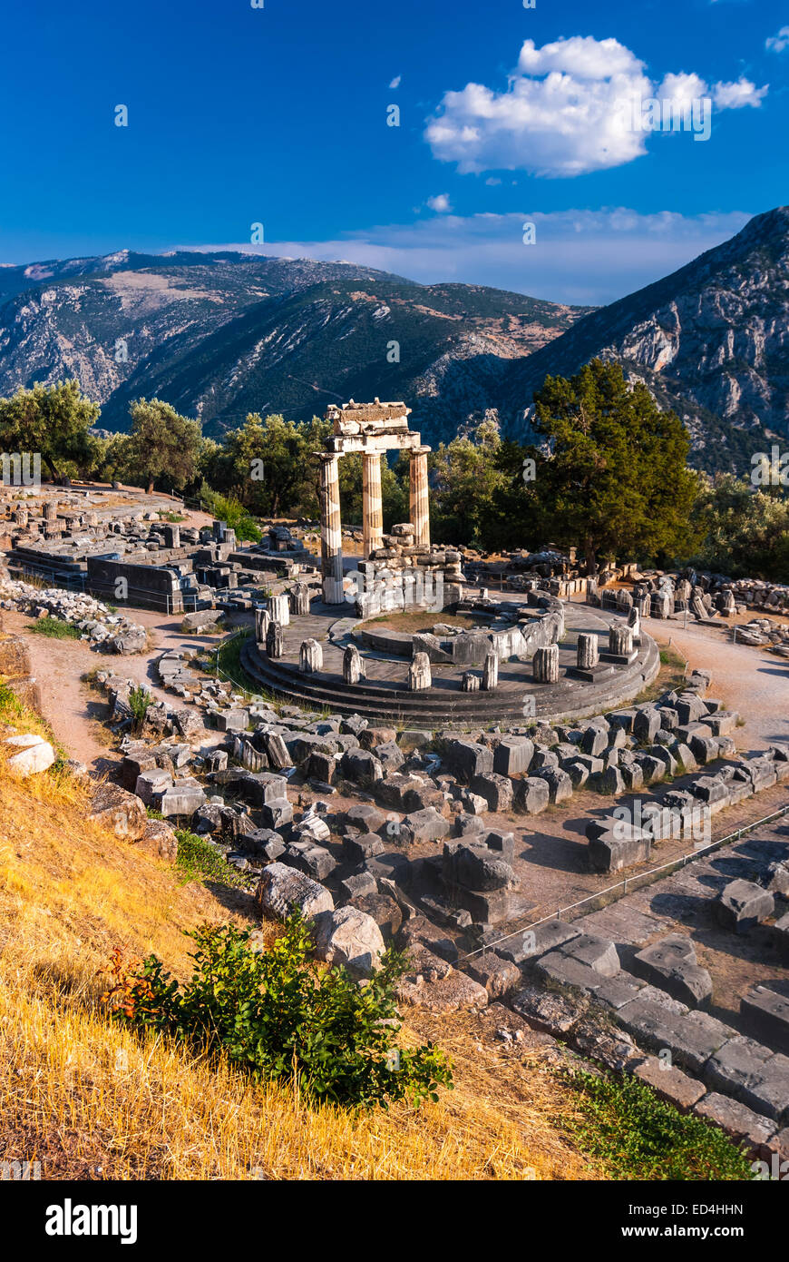 Delphi, Greece. Tholos temple, sanctuary of Athena Pronaia, constructed in 360 BC. Ancient Greek civilization. Stock Photo