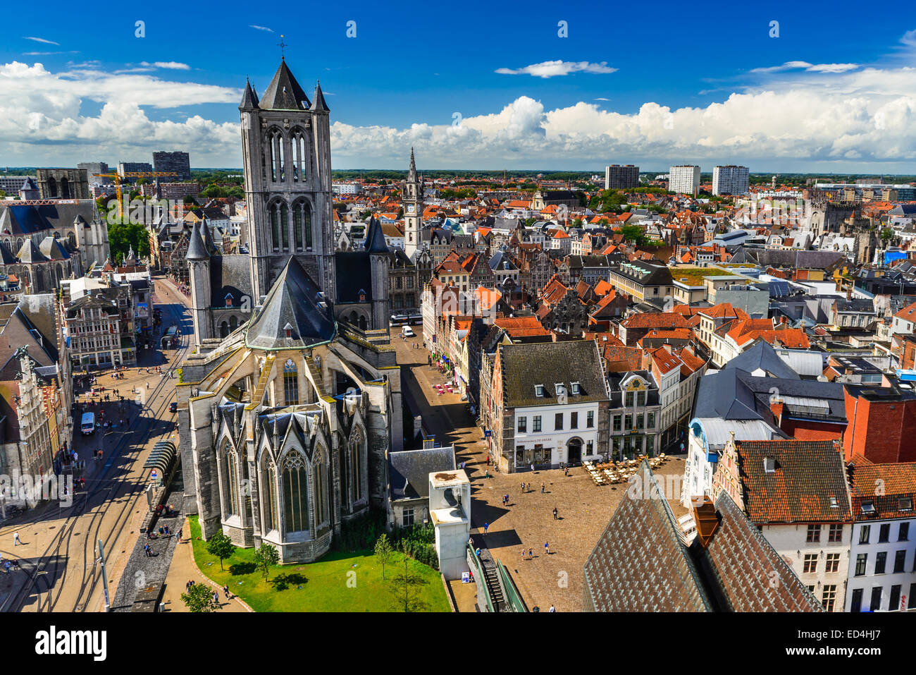 Skyline of Gent, Ghent in West Flanders, Belgium, seen from Belfort tower with St. Nicholas Church. - Stock Image