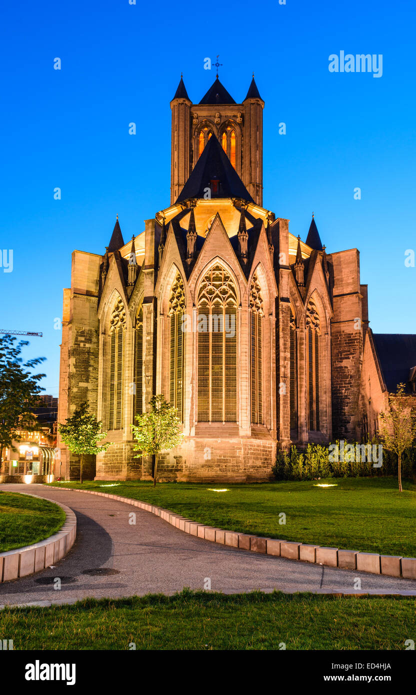 Night image of Saint Nicholas Church and Belfry tower, one of famous landmarks of Ghent, Gent in Flanders, Belgium. - Stock Image